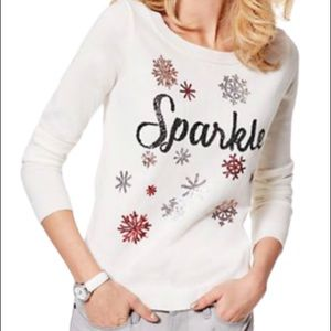 """New York & Company """"Sparkle"""" Sweater Off White Med"""